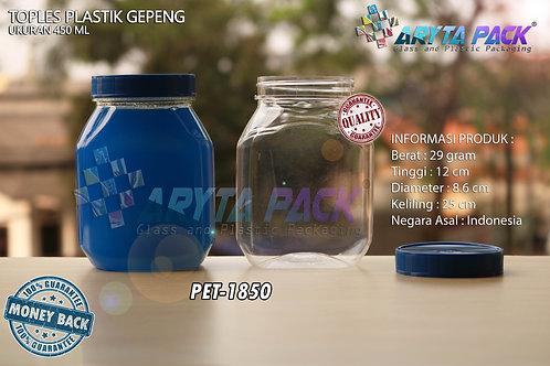 Toples plastik PET 450ml gepeng tutup biru