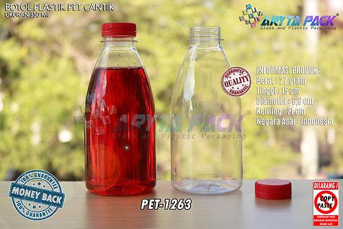Botol plastik minuman cantik 350ml tutup segel merah