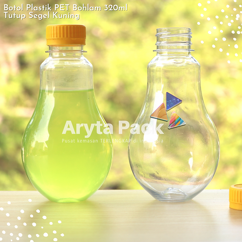 Botol plastik minuman bohlam 320ml tutup tinggi kuning segel