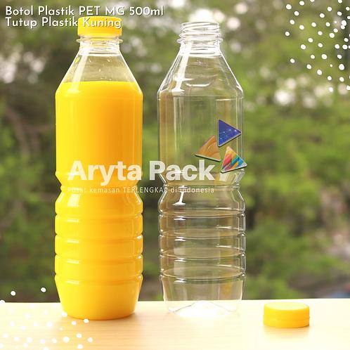 Botol plastik minuman 500ml mg tutup segel kuning