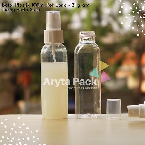 Botol plastik PET Lena natural 100ml tutup spray putih susu