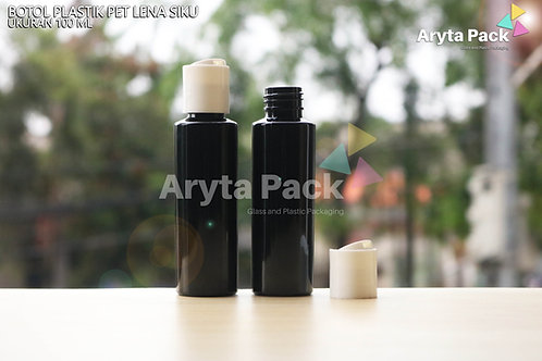 Botol plastik PET Lena siku 100ml hitam tutup press on putih susu