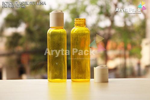 Botol plastik PET Lena 100ml  kuning tutup press on putih susu