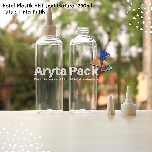 Botol plastik PET 250ml Joni tutup tinta putih