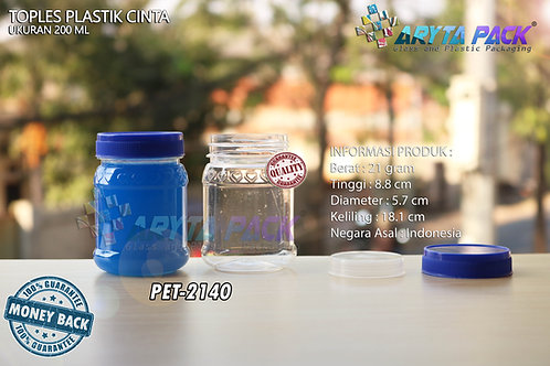 Toples plastik PET 200ml selai cinta tutup biru