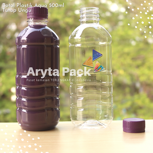 Botol plastik pet 500ml aqua tutup segel ungu