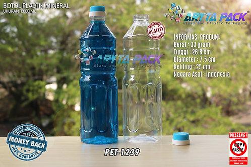 Botol plastik pet 1liter aqua tutup dop segel biru