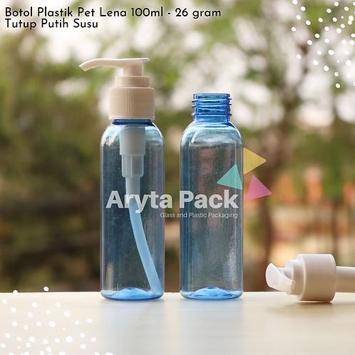 Botol plastik PET 100ml Lena biru tutup pump putih susu