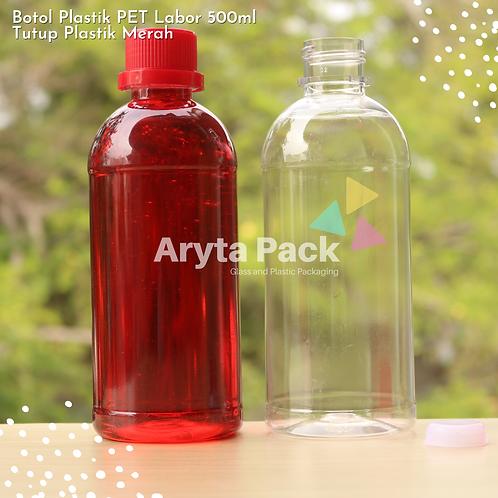Botol plastik PET 500ml labor tutup segel merah
