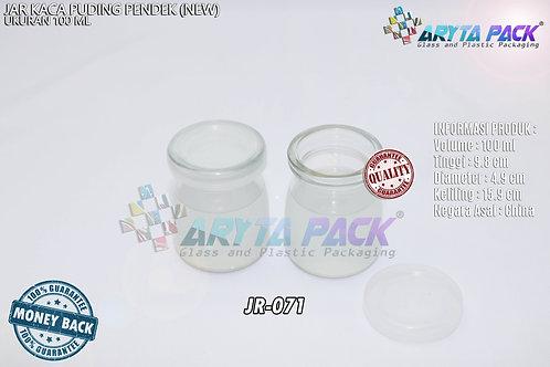 Jar kaca puding pendek 100ml tutup dop (new)