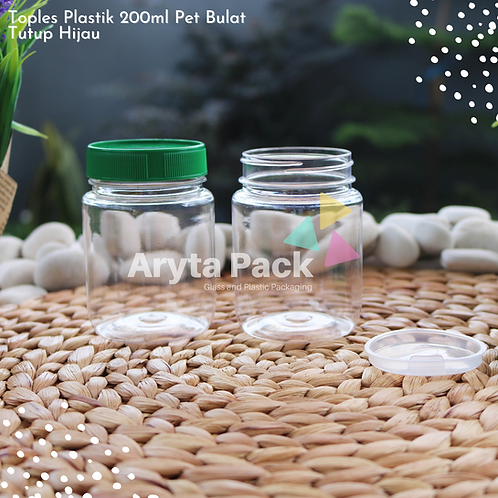 Toples plastik PET 200ml selai bulat tutup hijau