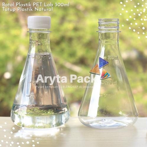 Botol plastik minuman 300ml lab tutup segel natural