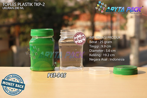 Toples plastik PET 200ml TKP-2 tutup hijau