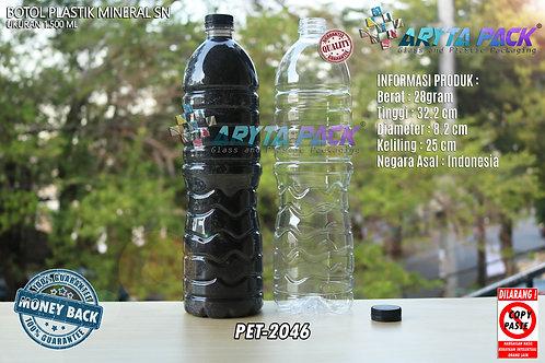 Botol plastik pet 1,5liter aqua tutup segel pendek hitam