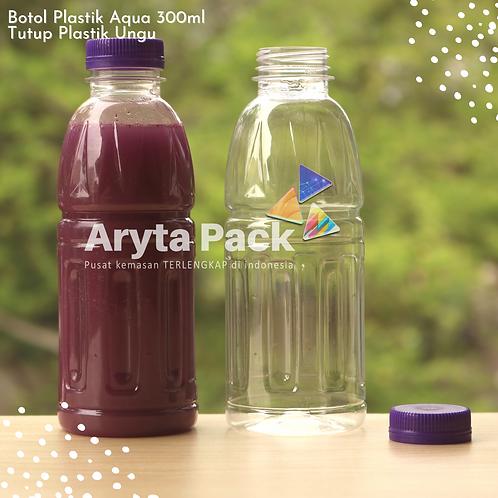 Botol plastik pet 300ml aqua aneka tutup segel ungu