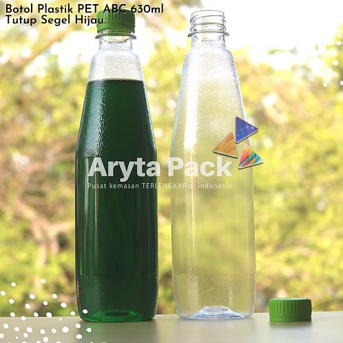 Botol plastik minuman 630ml ABC tutup segel hijau