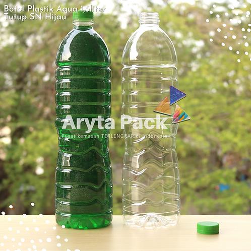 Botol plastik pet 1,5liter aqua tutup segel pendek hijau
