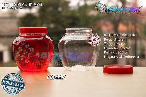 Toples plastik PET 450ml apel tutup merah