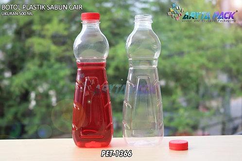 Botol plastik minuman 500ml sabun cair tutup ulir merah