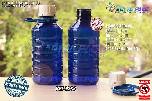 Botol plastik PET PS biru 1 liter tutup segel