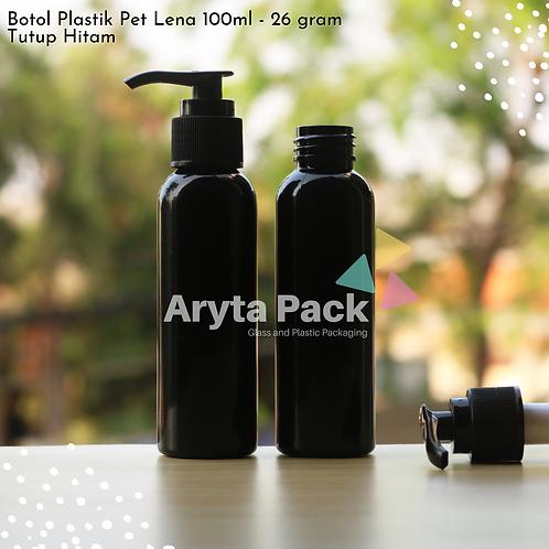 Botol plastik PET 100ml Lena hitam tutup pump hitam