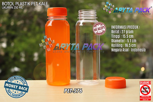 Botol plastik minuman 250ml jus kale tutup orange segel
