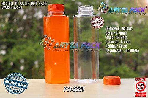 Botol plastik minuman 500ml jus kale sase tutup segel orange