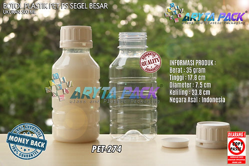 Botol plastik PET 500ml PS tutup segel