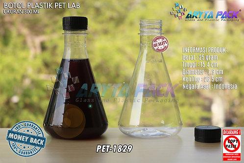 Botol plastik minuman 300ml lab tutup segel hitam