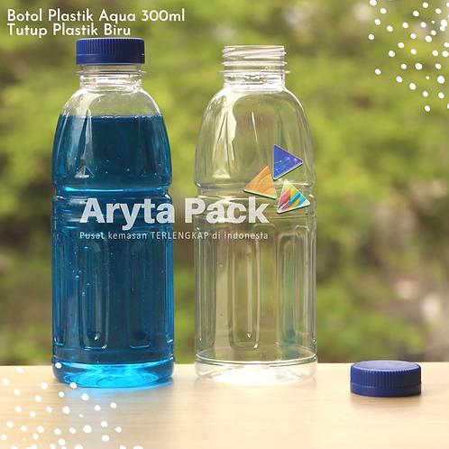 Botol plastik pet 300ml aqua aneka tutup segel biru