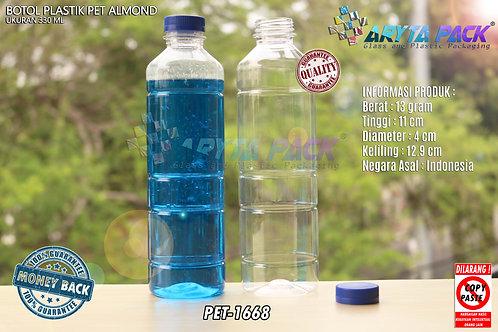 Botol plastik minuman 330ml almond tutup segel biru