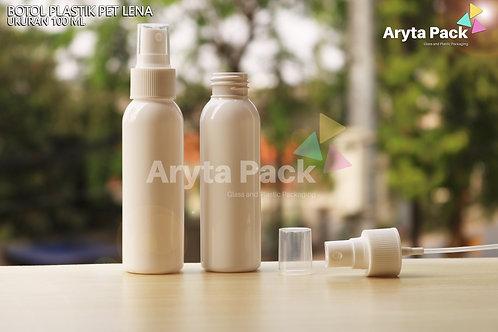 Botol plastik PET Lena putih susu 100ml tutup spray putih susu