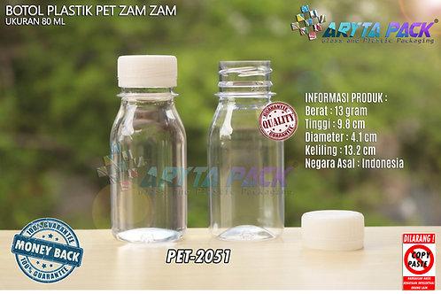Botol plastik PET 80ml zam-zam tutup segel natural