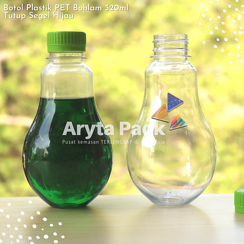 Botol plastik minuman bohlam 320ml tutup tinggi hijau segel