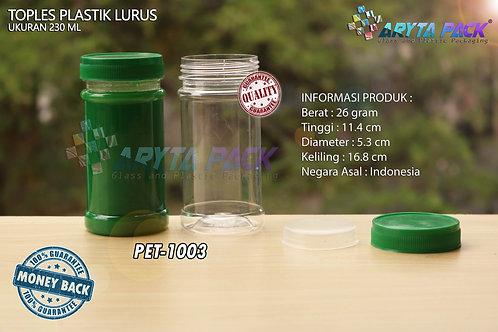 Toples plastik PET 230ml lurus tutup hijau