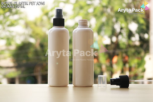 Botol plastik PET 250ml joni putih susu tutup spray hitam