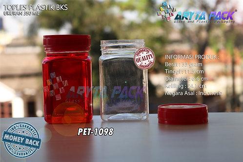 Toples plastik PET 350ml BKS tutup merah