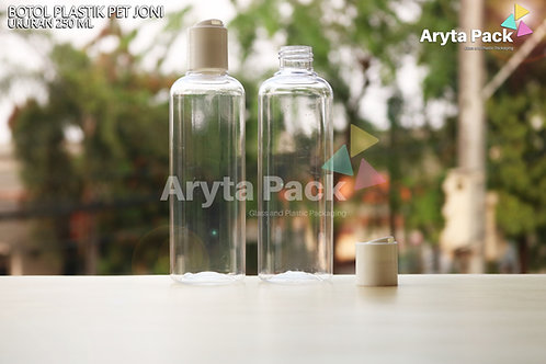 Botol plastik PET Joni 250ml  natural tutup press on putih susu