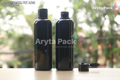Botol plastik PET Joni 250ml hitam tutup flip top hitam