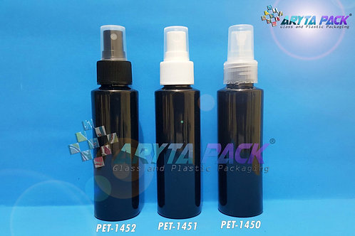 Botol plastik PET Lena siku hitam 100ml tutup spray putih susu