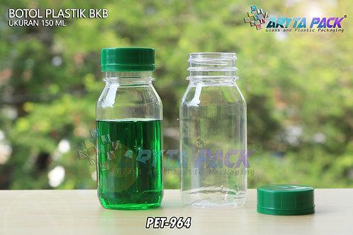 Botol plastik minuman 150ml BKB tutup segel hijau