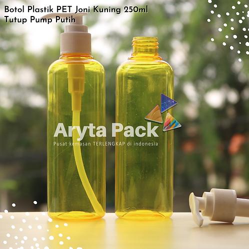 Botol plastik PET 250ml Joni kuning tutup pump putih susu