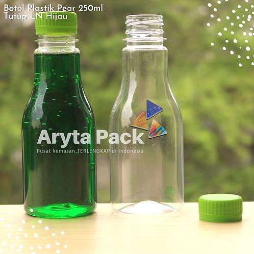 Botol plastik minuman 250ml pear tutup segel hijau