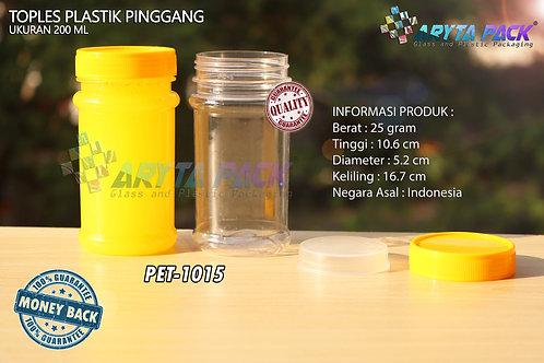 Toples plastik PET 200ml pinggang tutup kuning