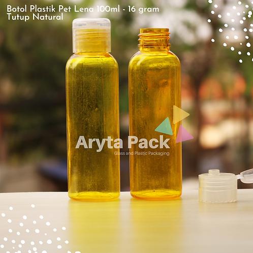 Botol plastik PET Lena 100ml  kuning tutup flip top natural