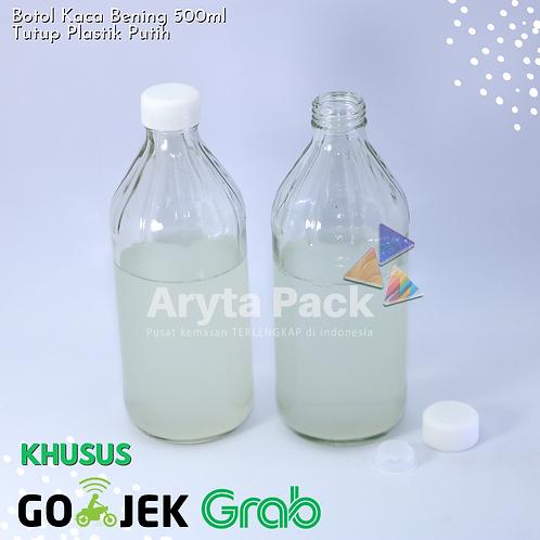 Botol kaca bening 500ml second tutup putih plastik