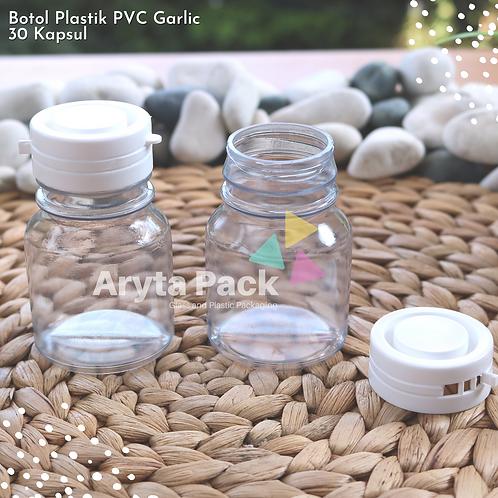 Botol plastik PVC 30 kapsul garlic kecil