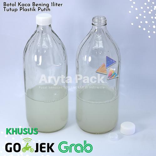 Botol kaca bening 1liter second tutup putih plastik