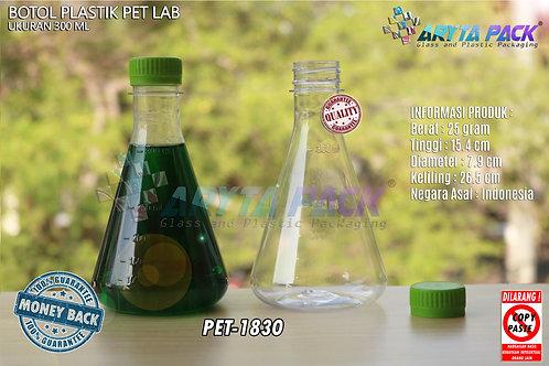 Botol plastik minuman 300ml lab tutup segel hijau