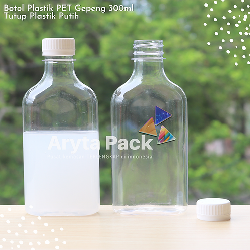 Botol plastik minuman gepeng 300ml tutup segel putih
